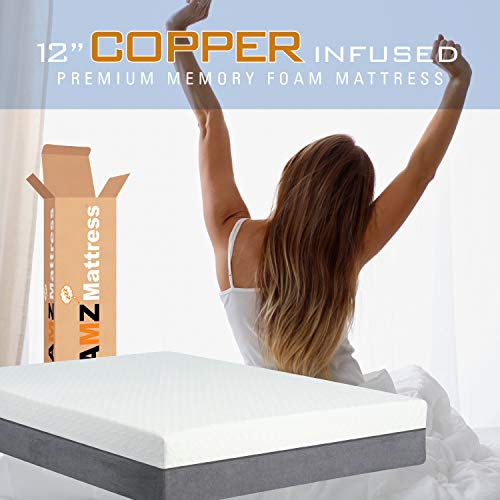 AMZ 12″ King Split 2 Mattress Set: Copper Infused Mattress, Zipper Top for Easy Cleaning. Patented Edge Stabilization System, Prevents Sagging and Provides a Stable Sitting-Sleeping Edge