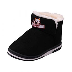 Kauneus🍭 Winter Boots Boy Girl Soft Warm Shoes Toddler Black Snow Boots (Toddler/Little Kid/Big Kid)