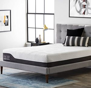 LUCID 12 Inch Twin XL Hybrid Mattress – Bamboo Charcoal and Aloe Vera Infused Memory Foam – Motion Isolating Springs – CertiPUR-US Certified