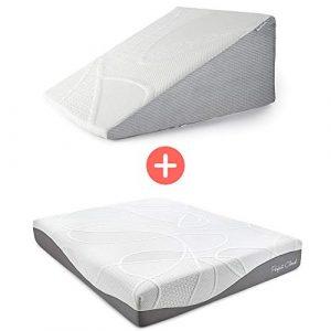 Perfect Cloud Ultraplush 10-Inch Memory Foam Mattress and Plush 12-Inch Memory Foam Wedge Pillow Bundle (RV Short Queen)