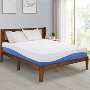 Olee Sleep 10 Inch Gel Infused Layer Top Memory Foam Mattress, Cal King, Blue