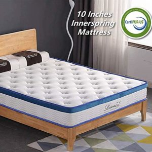 Twin Mattress, Rucas 10 inch Memory Foam Twin Size Mattress Innerspring Hybrid Mattress CertiPUR-US Certified Adaptive Foam with iCoil System Bed Mattress in a Box Twin