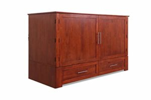 Solid Wood Queen Cabinet Bed with 6 Inch Memory Foam Mattress with Inside Delivery