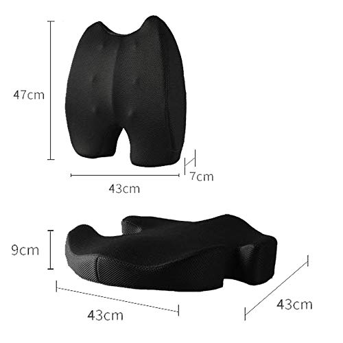 Orthopedic Ergonomic Memory Foam Seat Cushion and Lumbar Support Set for Car and Office Seats (All Gorgeous Black)