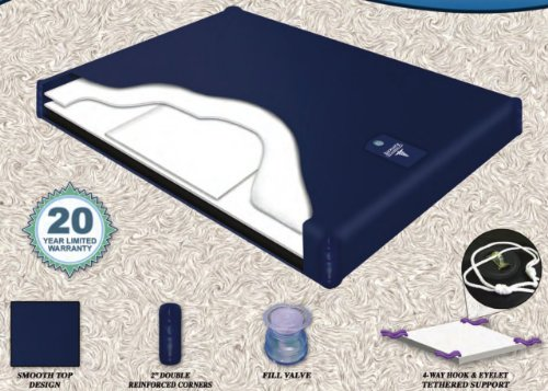 Semi Waveless Fluid Chamber Series 200 Mid Fill Softside Waterbed Bladder by Innomax (Queen)