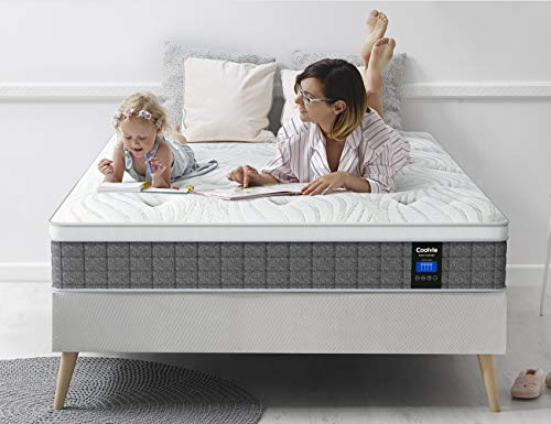Coolvie 12 Inch Memory Foam and Innerspring Hybrid Mattress, Supportive and Pressure Relief, Sleep Cool, Mattress in a Box (Queen, 12 Inch)