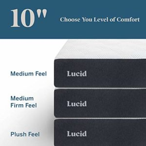 LUCID 10 Inch 2020 Gel Memory Foam Mattress – Medium Plush Feel – CertiPUR-US Certified – Hypoallergenic Bamboo Charcoal – Short Queen