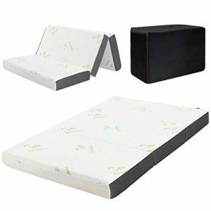 Mattress,6″ Queen Size Tri-Folding Memory Foam Mattress Sofa Bed Guests Mat Carry Bag