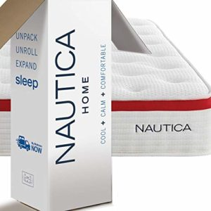 Nautica Home Mattress, Hybrid Innerspring Bed with Cooling Latex Foam, Quilted Cover, Perimeter Edge Support, Pocketed Springs, Side, Back, Stomach Sleepers (King, 10″ Harmony Hybrid)