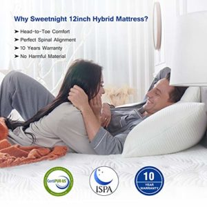 Sweetnight King Mattress- King Size Mattress in a Box, 12 Inch Plush Pillow Top Gel Memory Foam Hybrid Mattress with Motion Isolating Individually Wrapped Coils, Bed Mattresses for Pressure Relief