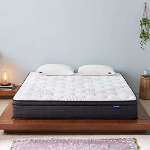 Sweetnight Queen Mattress- Queen Size Mattress in a Box, 12 Inch Plush Pillow Top Gel Memory Foam Hybrid Mattress with Motion Isolating Individually Wrapped Coils, Bed Mattresses for Pressure Relief