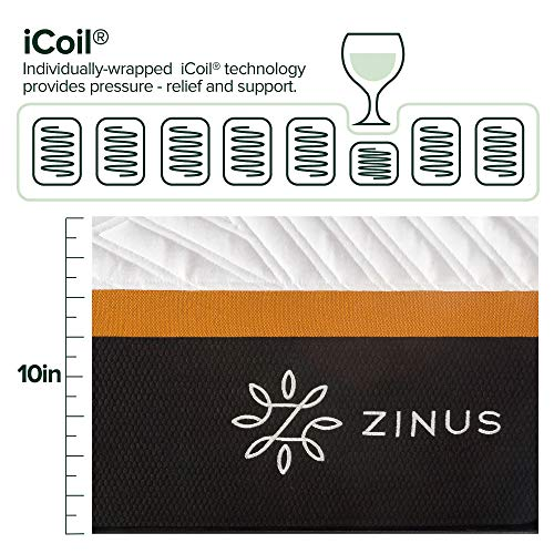 ZINUS 10 Inch Cooling Copper Adaptive Pocket Spring Hybrid Mattress/Moisture Wicking Cover/Cooling and Antimicrobial Foam/Pocket Innersprings for Motion Isolation/Mattress-in-a-Box, Queen