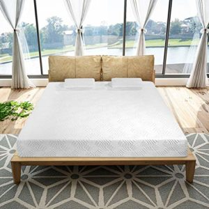 10 Inch Memory Foam and Innerspring Hybrid-Mattress – with 2 Pillows – Medium-Firm Feel – Two Layers, Queen Size, White