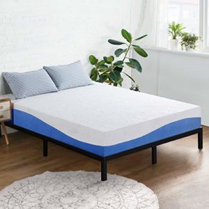 Olee Sleep 10 Inch Gel Infused Layer Top Memory Foam Mattress, Queen, Blue