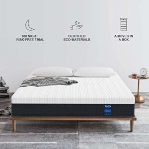 Coolvie Twin XL Mattress 10 inch, Luxury Hybrid Innerspring Mattress in a Box, Single Mattress with Motion Isolation Pocket Coil and Comfort Memory Foam Layer, Twin XL