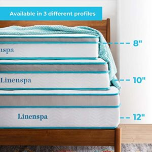 LINENSPA 8 Inch Memory Foam and Innerspring Hybrid Mattress – Twin XL