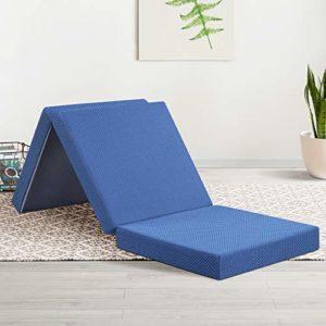 "Olee Sleep Tri-Folding Memory Foam Mattress, Blue, 4"" H"