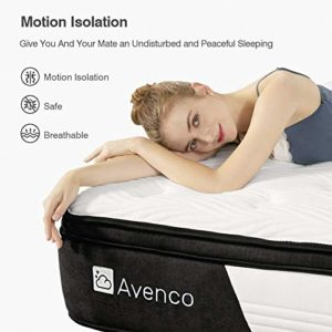 Queen Mattress, Avenco Hybrid Mattress Queen, 12 Inch Innerspring and Gel Memory Foam Mattress in a Box, with CertiPUR-US Foam for Supportive, Pressure Relief & Cooler Sleeping, 10 Years Support