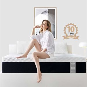 Queen Size Mattress, 10 Inch Iyee Nature Cooling-Gel Memory Foam Mattress Bed in a Box, Supportive & Pressure Relief with Breathable Soft Fabric Cover, Medium Firm Feel,Ventilated