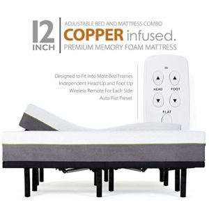 Blissful Nights Split King Adjustable Bed Frames and 12 Inch Copper Gel Infused Cool Memory Foam Mattress Medium Firm Feel CertiPUR-US Certified (Split King)