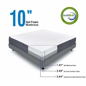 Queen Mattress – Sweetnight 10 Inch Queen Size Mattress-Infused Gel Memory Foam Mattress for Back Pain Relief & Cool Sleep, Medium Firm with CertiPUR-US Certified, 10 Years Warranty
